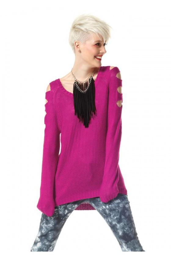 "Asimetrinis megztinis ""Pink"""
