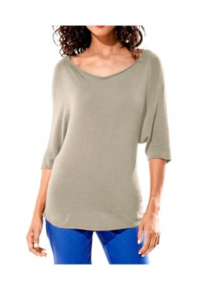 Back decollete shirt, taupe