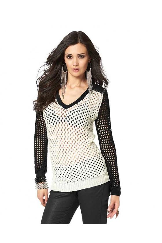 Shirt with rivets, ecru-black