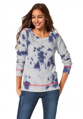 Tie dye sweatshirt, blue-multicolour