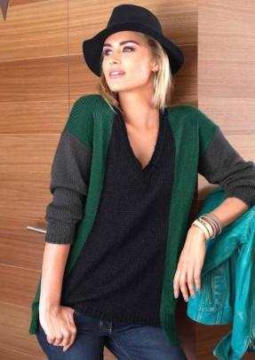 Megztinis žalia-juoda