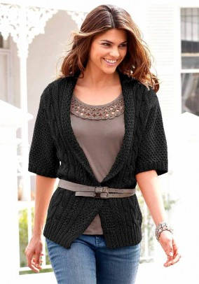 Cable stitch pattern cardigan, black