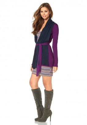 Cardigan with scarf, purple-blue