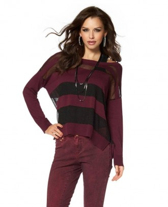 Striped sweatshirt, bordeaux-black