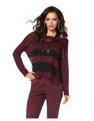 Bordo dryžuotas megztinis