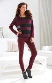 Striped sweatshirt, bordeaux-black