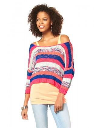 Dryžuotas margaspalvis megztinis