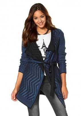 Knit coat, blue-black