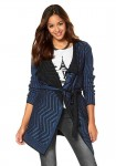 Ilgas megztinis juoda-mėlyna