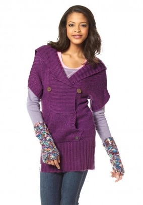 Long shirt with hood, purple
