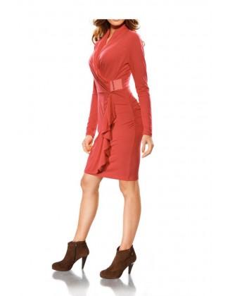 Koralo spalvos prabangi suknelė