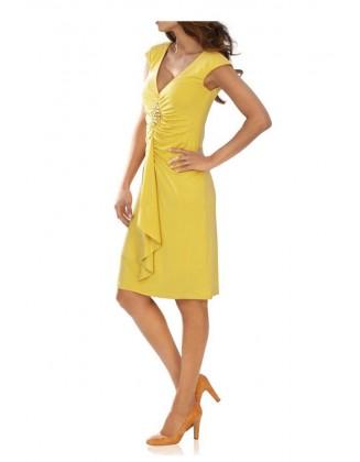 Geltona dekoruota suknelė