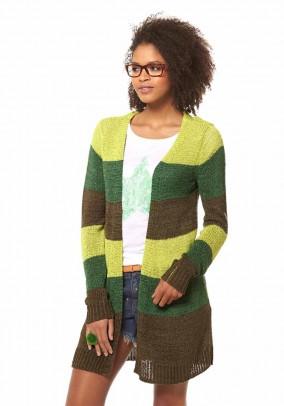 Dryžuotas megztinis chaki-žalias