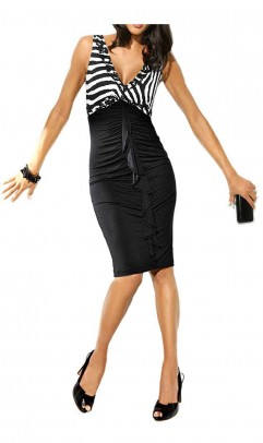 Designer dress with sequines, black-white