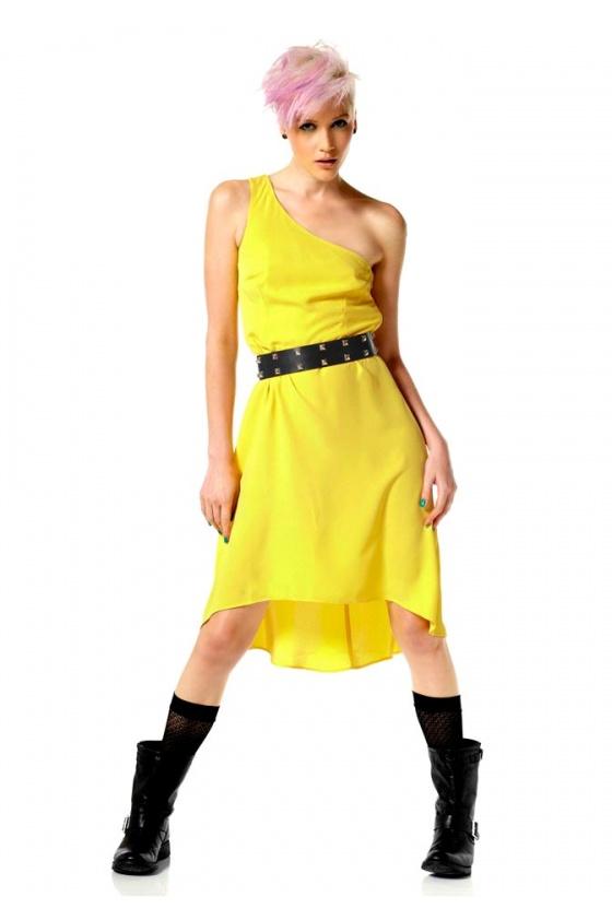 Asymmetric label dress, yellow