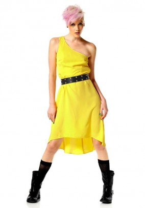 Asymmetric label dress, yellow