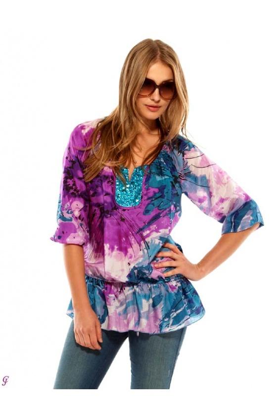 Label silk tunik with sequines, purple