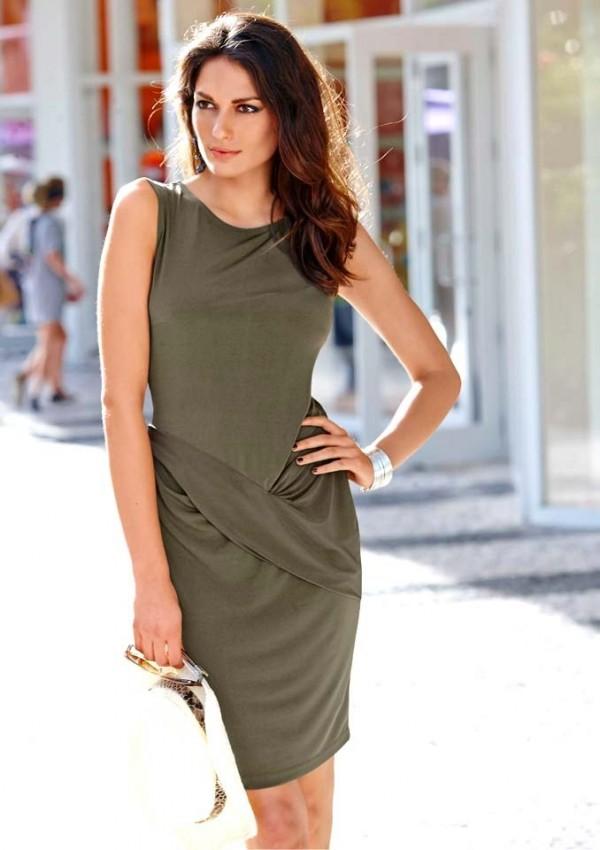 4d6d57c80d3 Draped jersey dress, olive