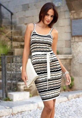 Knit dress, ecru-black-beige