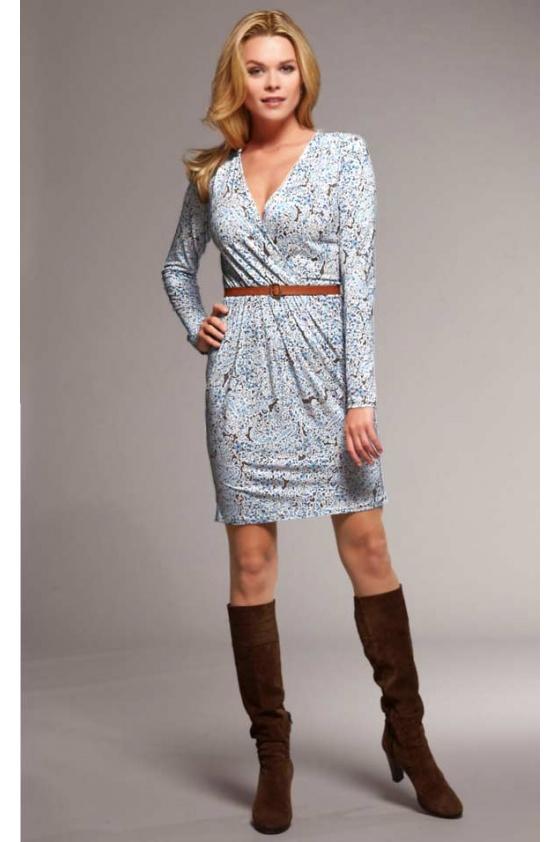 Wrap dress with belt, blue-multicolour