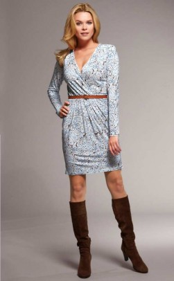 Wrap dress with belt, blue-multicolour