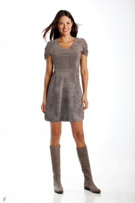 Lable velours-leather dress, taupe