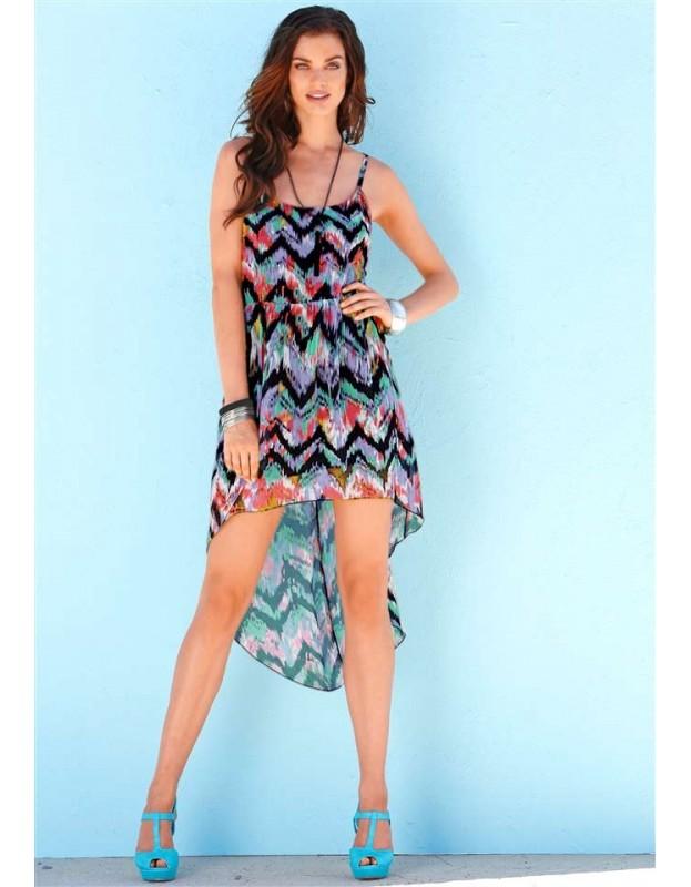 Asimetriška spalvinga suknelė