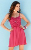 Dress with lace, lobster red