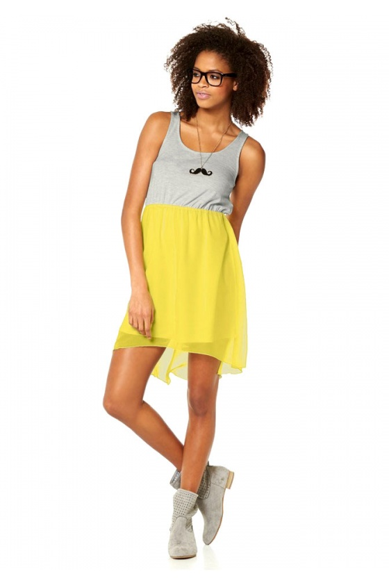 Geltona - pilka suknelė