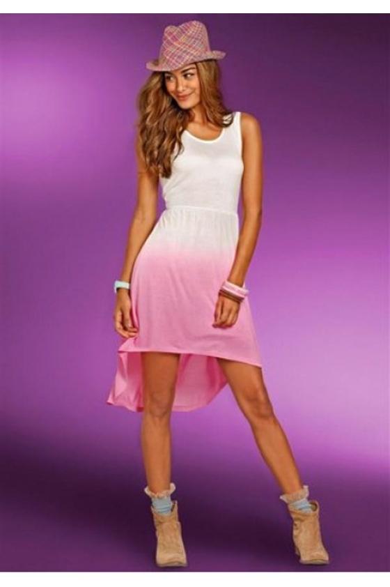 Asimetriška rausva suknelė