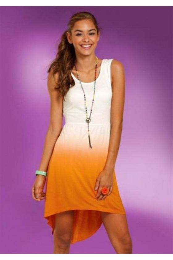 Asimetriška oranžinė suknelė