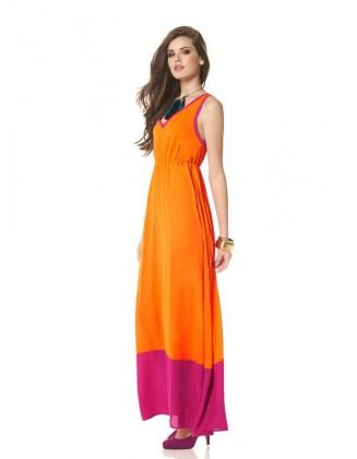 Ilga oranžinė suknelė