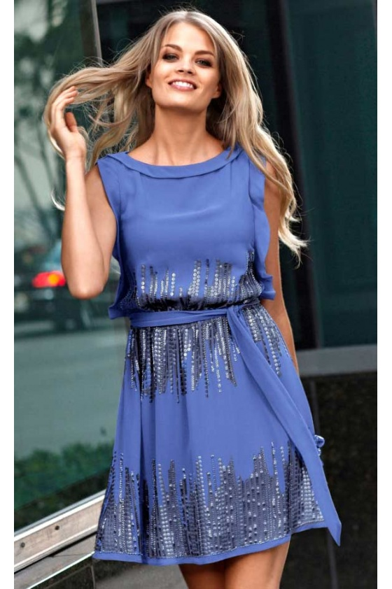 Chiffon dress with sequines, blue
