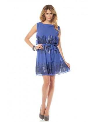 Puošni dekoruota melsva suknelė