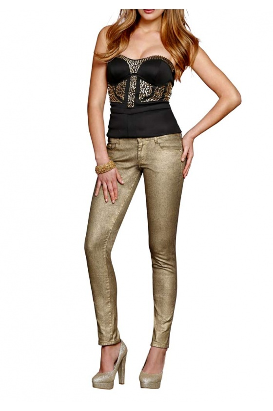 Aukso spalvos džinsai