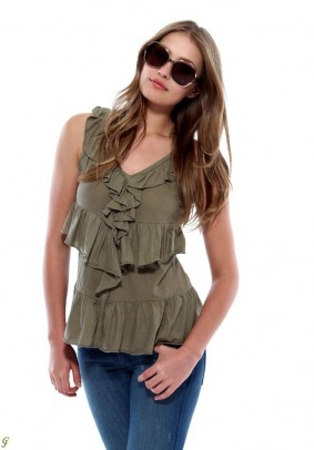 Label flounce-top, khaki