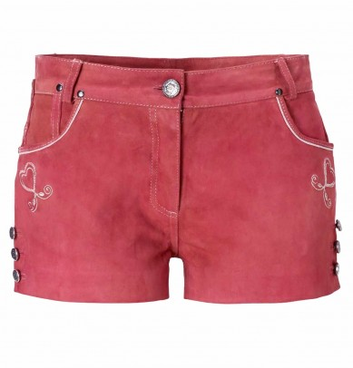 Brand goat suede Shorts, coral