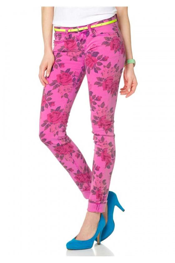 Rožinės spalvingos kelnės