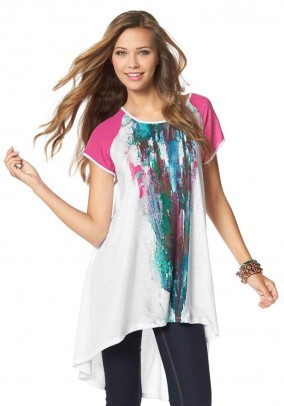 Long shirt, white-pink-multicolour