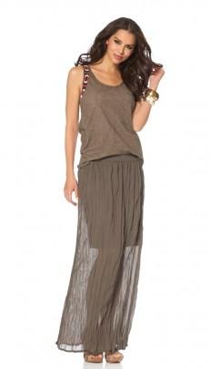 Chiffon maxi skirt, brown