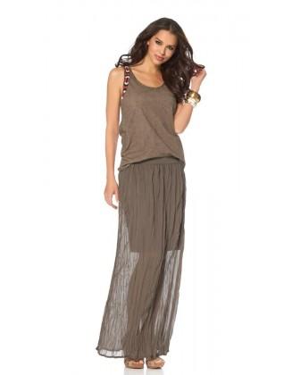 Rudas maxi sijonas