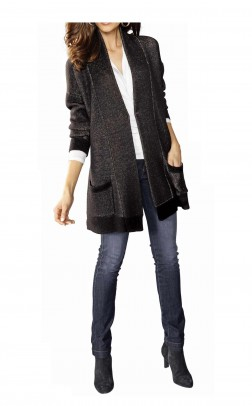 Wool long cardigan, black-golden