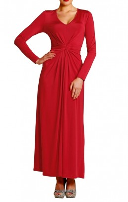 Dress with ruchings, red