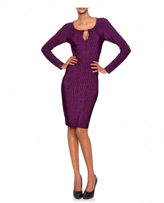 Designer jersey dress, black-purple