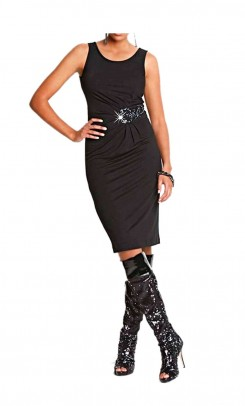 Beaded designer dress, black