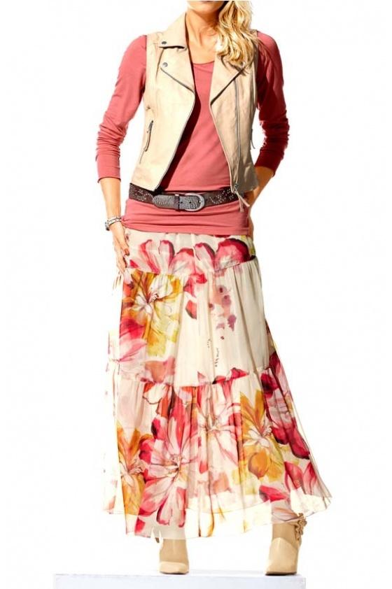 Ilgas gėlėtas sijonas