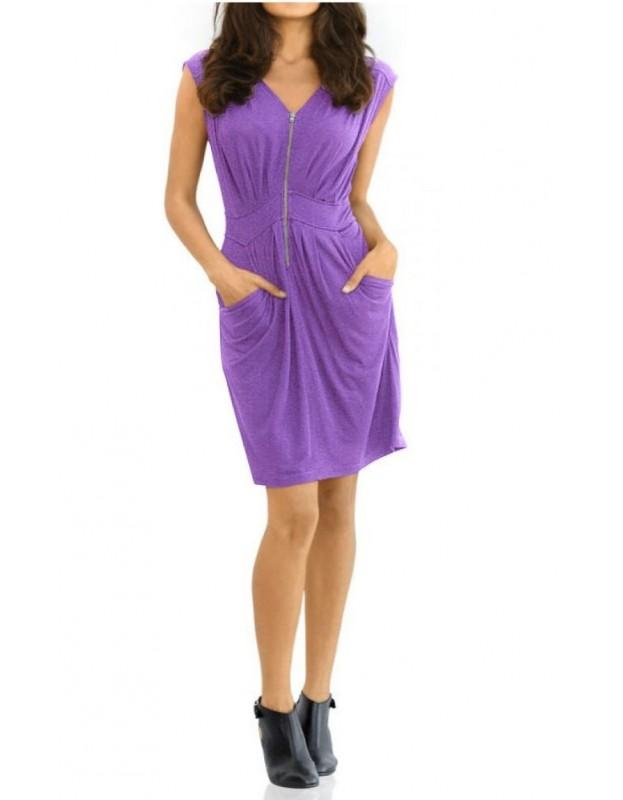 Violetinė suknelė su užtrauktuku
