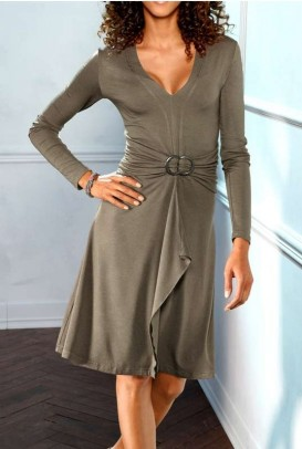 Flounce dress, taupe