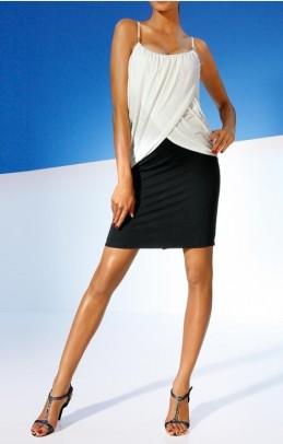 Balta - juoda suknelė ant petnešėlių