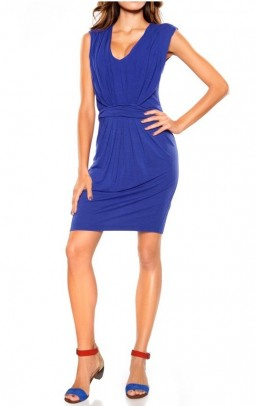 Dress with ruchings, royal blue